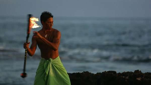 Hawaiian fire knife dancer performs, slow motion Royalty-free stock video