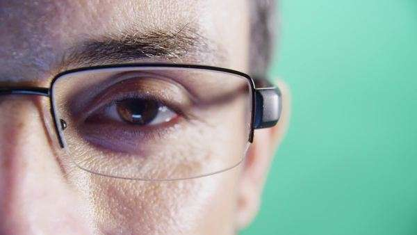 Close-up of man's eyes and glasses Royalty-free stock video