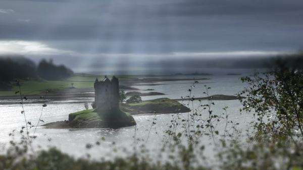 Timelapse weather over Scottish castle Royalty-free stock video
