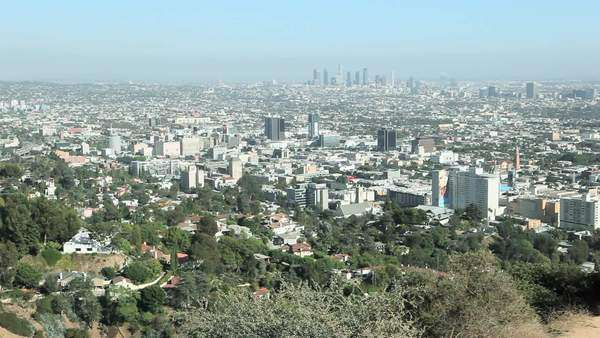 Hollywood Hills and Downtown LA, Los Angeles County, California, USA Royalty-free stock video