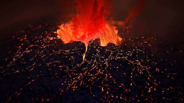 Extreme close-up of spectacular eruption CG volcano Royalty-free stock video