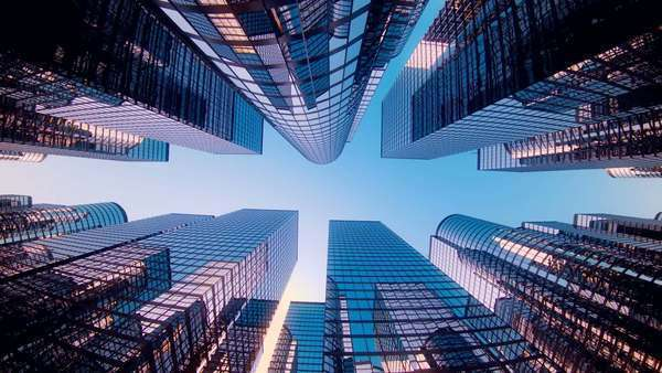 Wide shot of skyscrapers animation background Royalty-free stock video