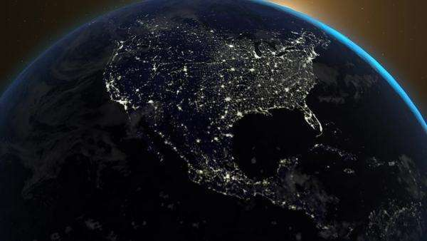 View of planet Earth city lights from space. Camera is slowly moving away from spinning Earth. Royalty-free stock video