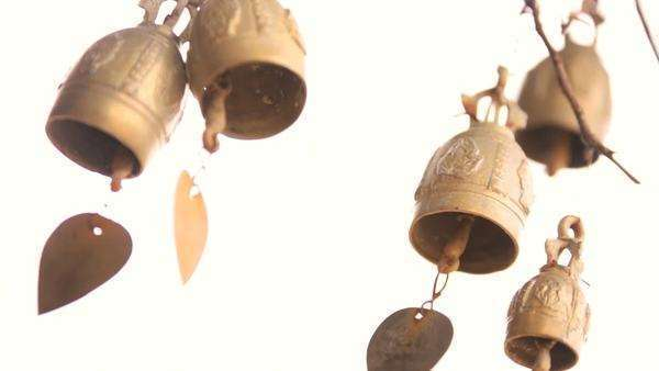 Thai brass bell prayer chimes Chalong, Phuket Thailand, Southeast Asia Royalty-free stock video