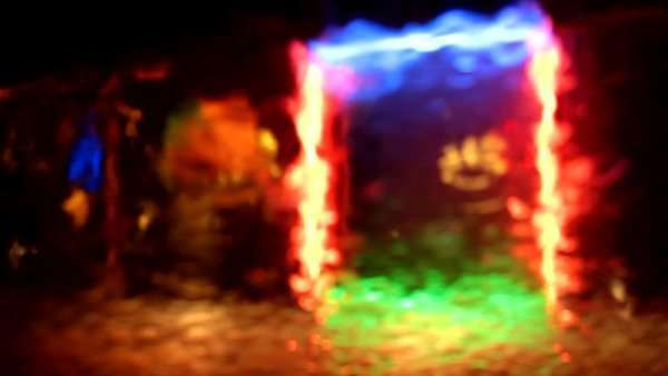 Defocused shot of lights seen through windshield while raining. Bokeh. Royalty-free stock video