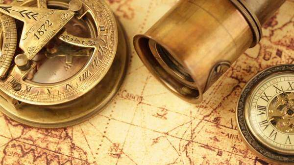 Vintage magnifying glass compass telescope and a pocket watch vintage magnifying glass compass telescope and a pocket watch lying on ancient world map from 1565 stock video footage dissolve gumiabroncs Gallery