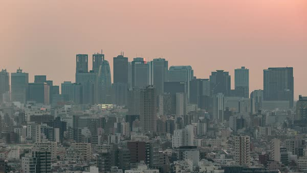 4K Timelapse Sequence of Tokyo, Japan - The skyline of Shinjuku in Tokyo  filmed from the Bunkyo Civic Center stock footage