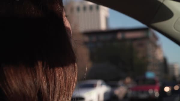 Close-up shot of a woman driving a car Royalty-free stock video