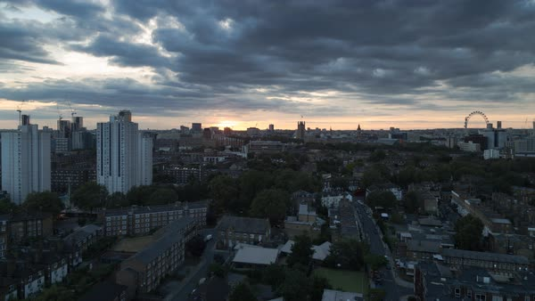 Sunset over London as seen from Lambeth. Royalty-free stock video