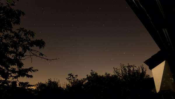 Stars fly over a suburban house at night. Royalty-free stock video