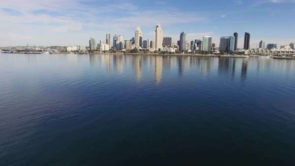 Wide shot of San Diego skyline over the ocean in CA, USA Royalty-free stock video
