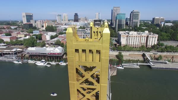 Aerial shot of downtown Sacramento with Tower Bridge Royalty-free stock video