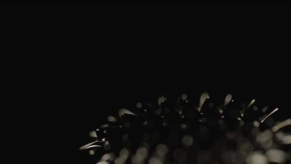 Static shot of ferrofluid reflecting light on black background Royalty-free stock video