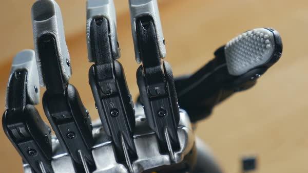 Bionic arm  Innovative robotic hand made on 3D printer  Futuristic  technology  stock footage
