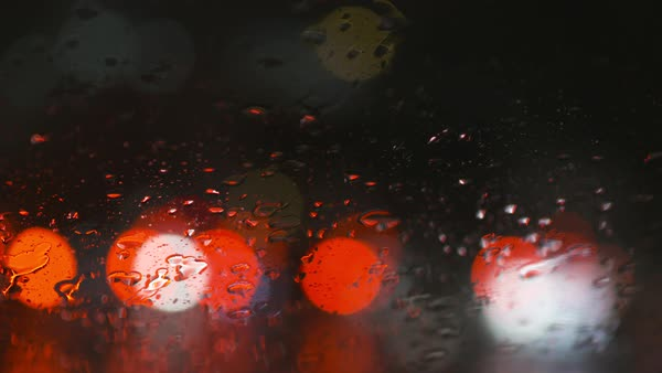 Hand-held shot of wet window at night in San Francisco Royalty-free stock video