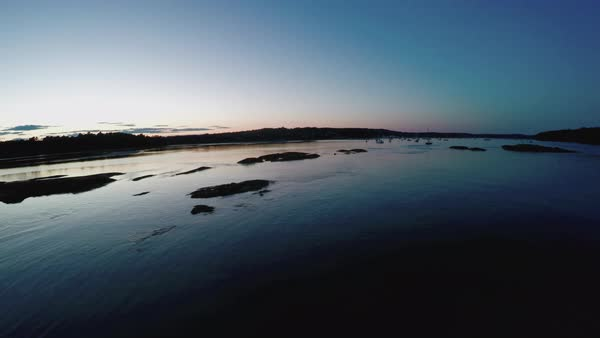 Drone shot of a river at dusk Royalty-free stock video