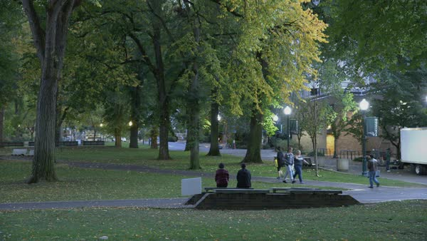 Static shot of campus park at dusk in Portland Rights-managed stock video
