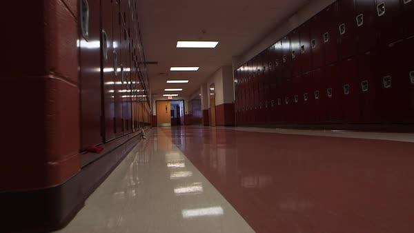 Dolly Shot Of An Empty School Hallway Stock Video Footage Dissolve