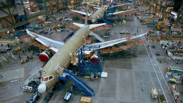Timelapse of an airplane factory. Originally sourced from 70mm film Rights-managed stock video