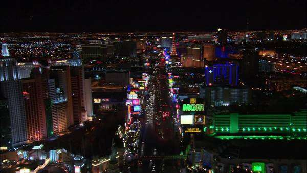 Drone shot of Las Vegas Boulevard at night Rights-managed stock video