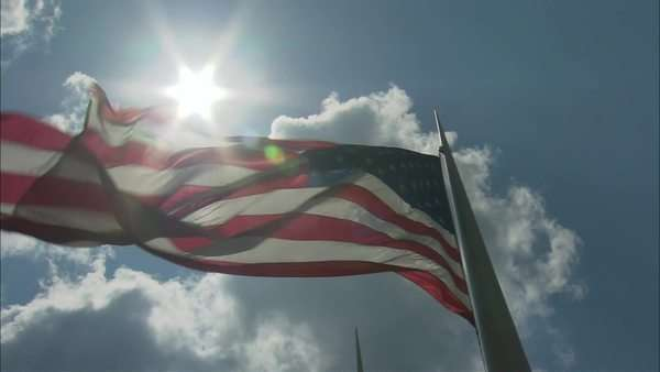 Low-angle shot of an American flag flapping in breeze Rights-managed stock video