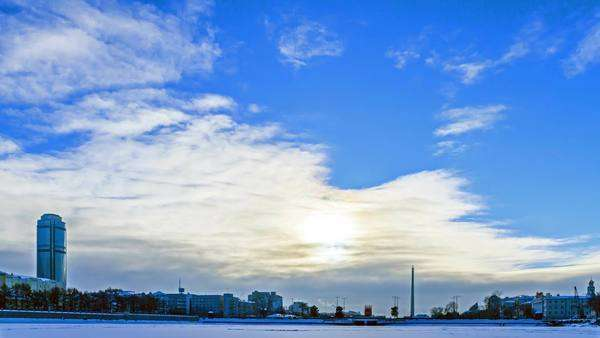 Embankment Yekaterinburg. Russia. Timelapse Royalty-free stock video