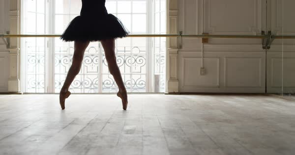 Slow motion shot of ballerina dancing in studio Royalty-free stock video
