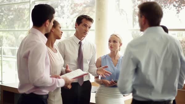 Business team leader offering encouragement during meeting Royalty-free stock video