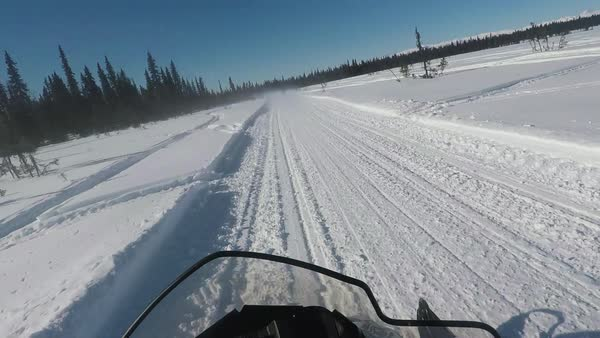 Point-of-view shot of a man riding a snowmobile Royalty-free stock video