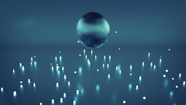 Jumping blue glossy ball and sparkles  Abstract VJ loop  Seamless loop 3D  render animation stock footage