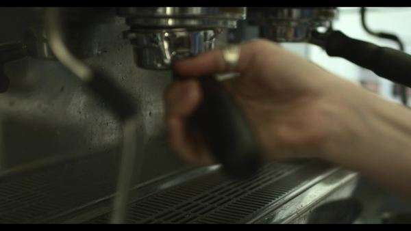 Close up of cup of barista preparing coffee on machine Royalty-free stock video