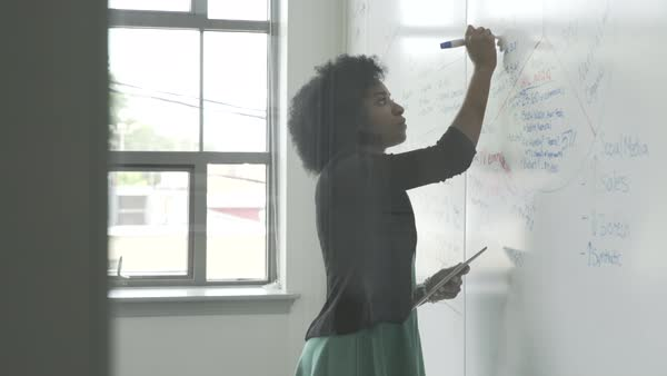Hand-held shot view of a business woman writing ideas on a whiteboard Royalty-free stock video
