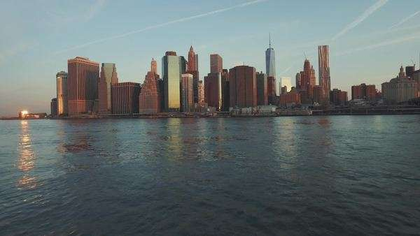 Manhattan skyline and blue sky, New York, United States Royalty-free stock video