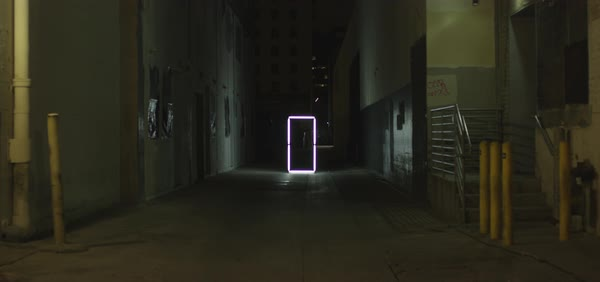Hand-held shot of a dark alley in Los Angeles Royalty-free stock video