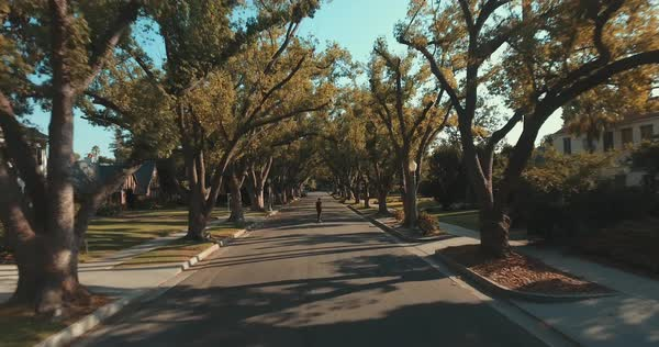 Tracking shot of a man skateboarding on a suburban street Royalty-free stock video