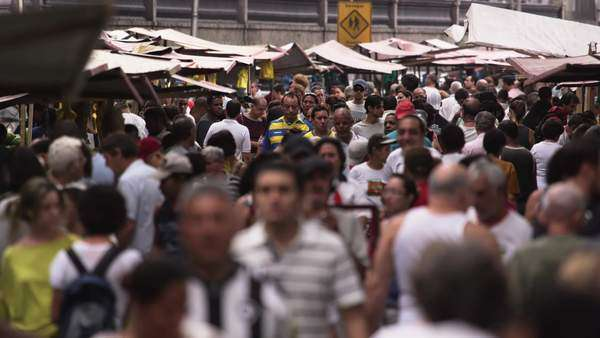Slow motion shot of throng of people in a market in Rio de Janeiro, Brazil Royalty-free stock video