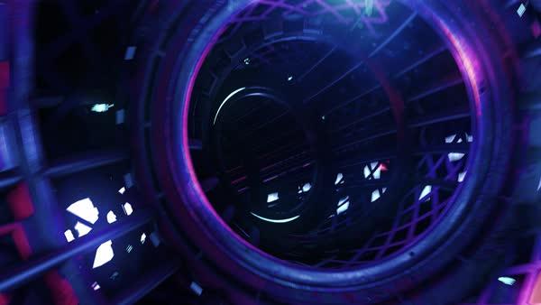 VJ Loop neon digital tunnel stock footage