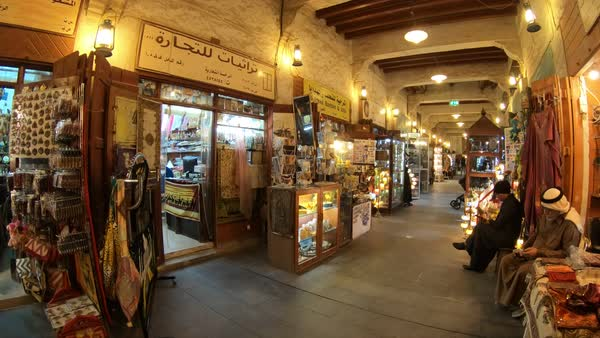 Doha, Qatar - February 17, 2019: interior Souq Waqif considered one of best  location for tourists in Doha and noted for selling traditional garments,