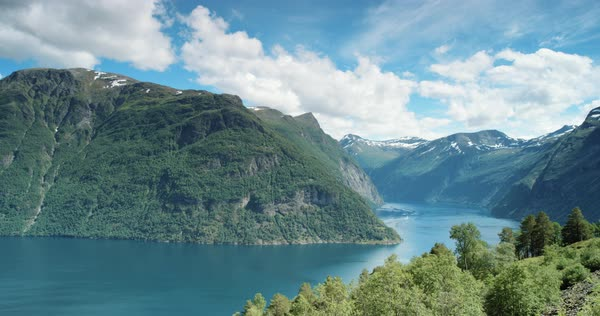 Nature background landscape of Fjord Norway Royalty-free stock video
