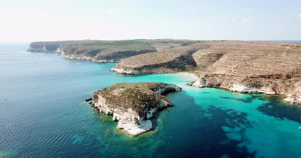 Aerial View Of The Island Of Lampedusa Sicily Italy Near Isola Dei
