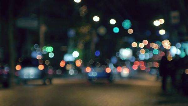 Night city traffic out of focus Royalty-free stock video