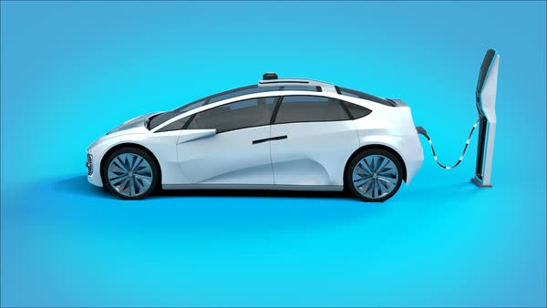 Futuristic Electric Self Driving Car Charging In Station Blue Background Stock Video Footage Dissolve