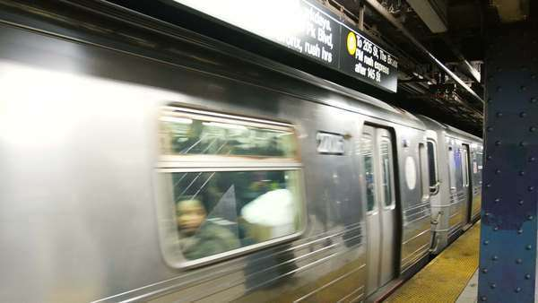 Subway train moving out of station in New York Royalty-free stock video