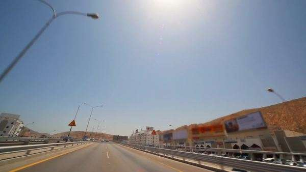 view from moving car in Muscat - capital of Oman stock footage