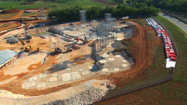 WS AERIAL Construction site and agricultural fields Royalty-free stock video