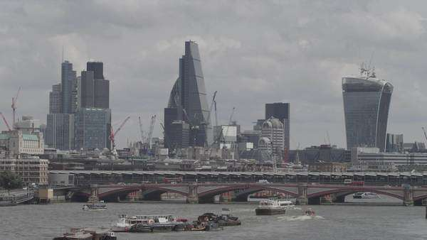 Wide-angle shot of skyscrapers in London, UK Royalty-free stock video