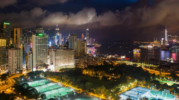 Elevated view, Victoria park and Central district of Hong Kong Island, Hong Kong, China - time lapse Royalty-free stock video