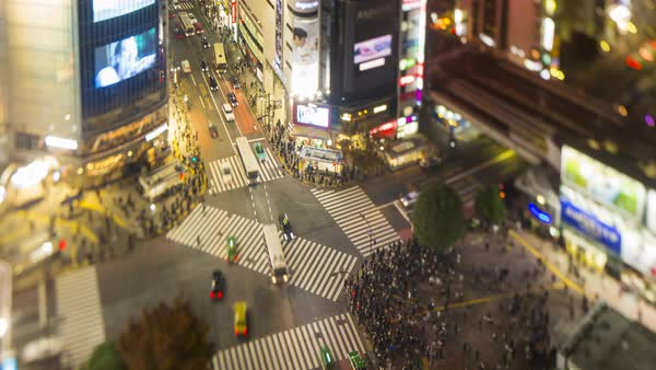 Elevated time lapse of crowds crossing the famous Shibuya Crossing, Shibuya, Tokyo, Japan Royalty-free stock video