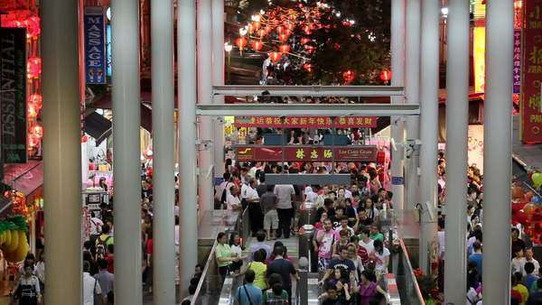 Chinatown, Busy night market and MTR subway entrance, South East Asia, Singapore, Royalty-free stock video