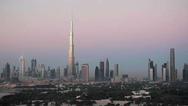 United Arab Emirates, Dubai, elevated view of the new Dubai skyline, the Burj Khalifa, modern architecture and skyscrappers on Sheikh Zayed Road Royalty-free stock video